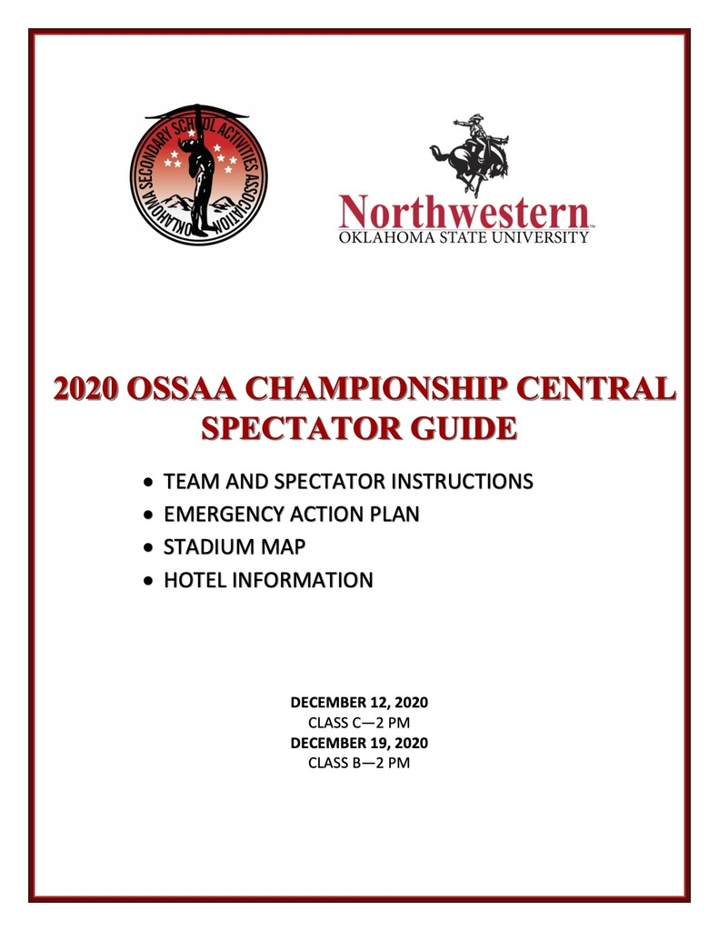 Spectator information for State Championship