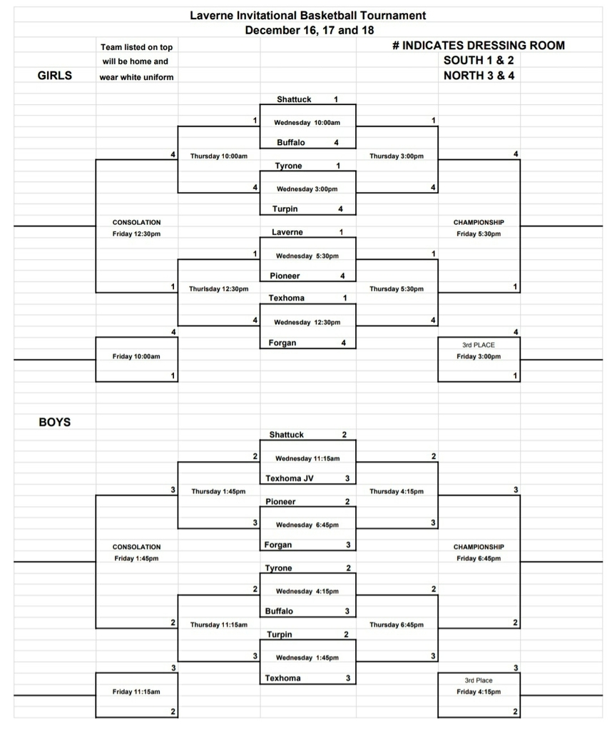 Laverne Tournament Brackets