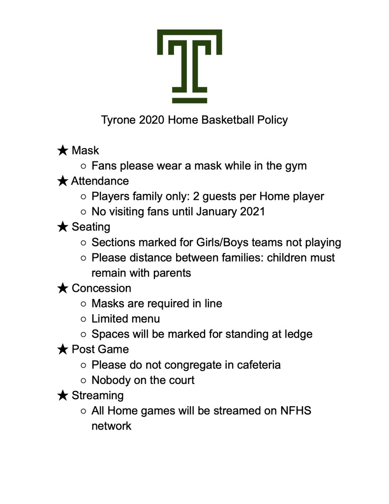 Tyrone 2020 Home Basketball Policy