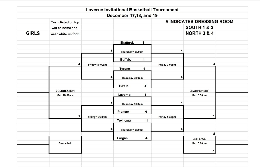 Girls Updated Laverne Tournament Bracket