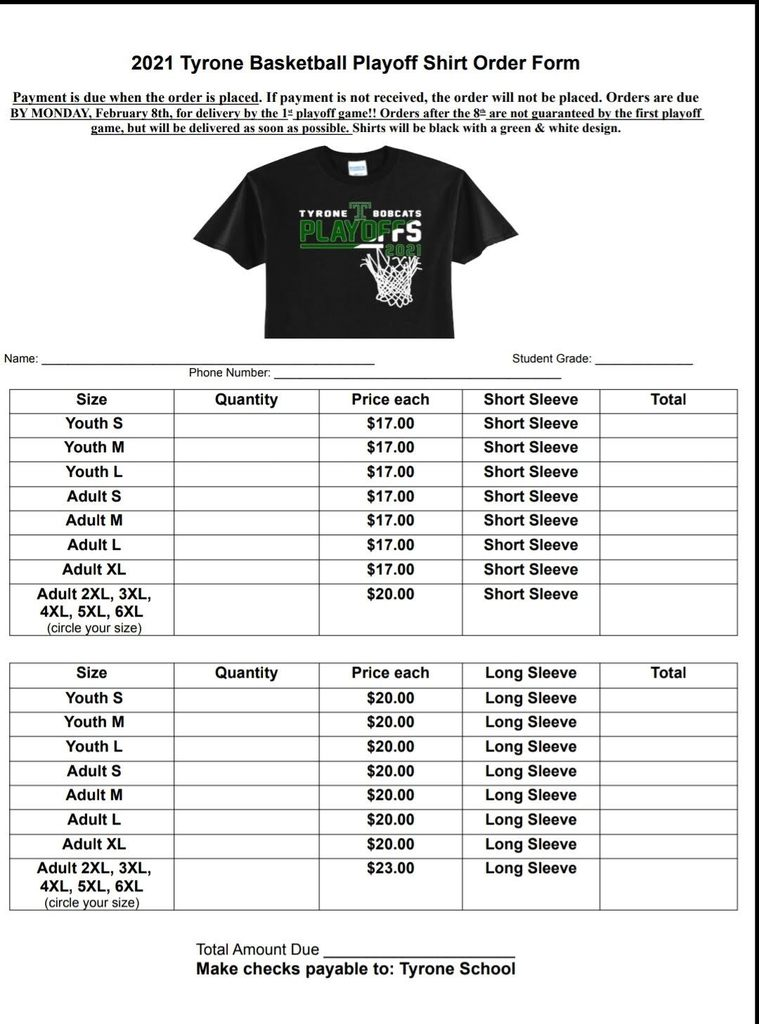 2021 Playoff shirt order form